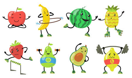 Sporty fruits set. Cartoon pear, apple, avocado, strawberry doing yoga, running and lifting weight in gym. Flat vector illustrations for healthy food, wellness, lifestyle concept