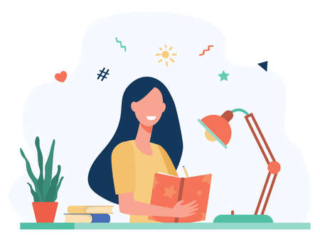 Girl writing in diary or journal isolated flat vector illustration. Cartoon teenager reading book or studying. Lifestyle and education concept