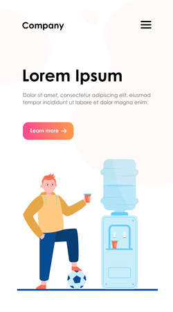 Football player drinking water at cooler. Male athlete, soccer, sportsman flat vector illustration. Beverage, refreshment, watercooler concept for banner, website design or landing web page
