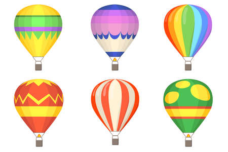 Hot air balloons flat illustration set. Cartoon colorful balloons with baskets isolated on white background vector illustration collection. Flight, sky and summer concept