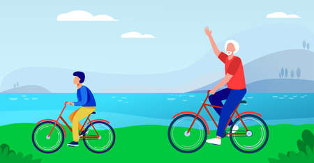 Active grandfather and grandson riding bikes together. Old man and boy cycling outdoors flat vector illustration. Lifestyle, activity, family concept for banner, website design or landing web page Illusztráció
