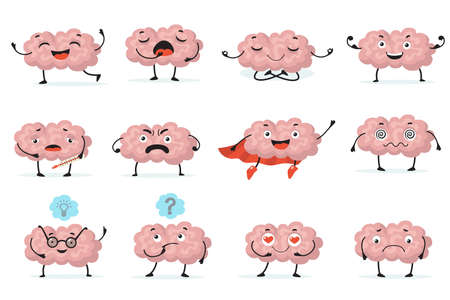 Cute brainy character expression flat icon set. Cartoon brain with emotions on white background isolated vector illustration collection. Brainpower, mind and intelligence concept