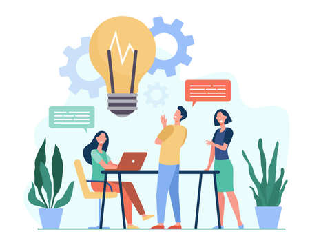 Colleagues sharing thoughts and ideas flat vector illustration. Cartoon employees thinking about company project or startup in team. Brainstorm, skill and teamwork concept