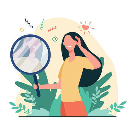 Woman looking at mirror flat vector illustration. Cartoon beautiful female characters smiling to her reflection. Love of self, ego and narcissism concept Stock Illustratie