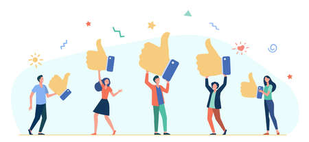 Tiny people holding thumbs up flat vector illustration. Cartoon customers or clients giving support, review rating and feedback. business success and service quality concept 向量圖像