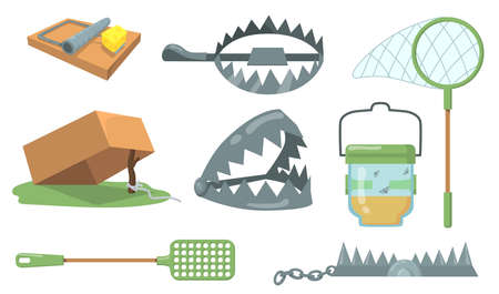 Animal traps set. Mouse trap, metal bear trap, butterfly net isolated on white background. Cartoon vector illustration for hunting, animal catching, cruelty concept Illustration