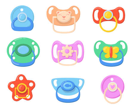 Pacifiers for babies set. Colorful plastic soothers for little children with butterfly, bear, flower shaped handles. Vector illustrations for childhood, parenthood, baby care concept Ilustracja