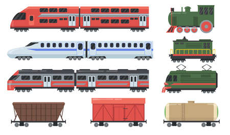 Different trains set. Locomotive, passenger carriage, freight wagon, tank car, commuter rail. Vector illustrations for travel, commuting, cargo, railway transport concept Stock Illustratie