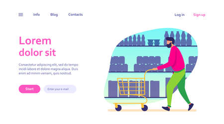 Man shopping in supermarket. Customer wheeling cart along aisles flat vector illustration. Grocery store, buying food concept for banner, website design or landing web page