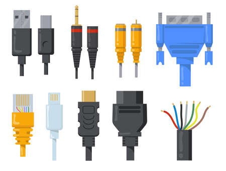 Computer cables, wires and cords flat item set. Cartoon black and colored connectors for HDMI or VGA port isolated vector illustration collection.