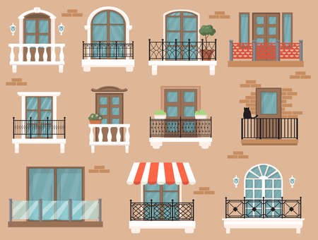 Beautiful decorated balcony flat set for web design. Cartoon vintage windows with classic decor and fences isolated vector illustration collection.