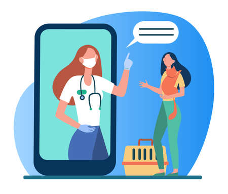Veterinarian on smartphone screen consulting woman with cat. Vet, online, consultation flat vector illustration. Domestic animals and veterinary concept for banner, website design or landing web page Vektorgrafik