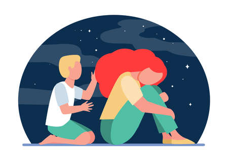 Boy trying to help sad woman. Grief, kid, night flat vector illustration. Depression and melancholy concept for banner, website design or landing web page