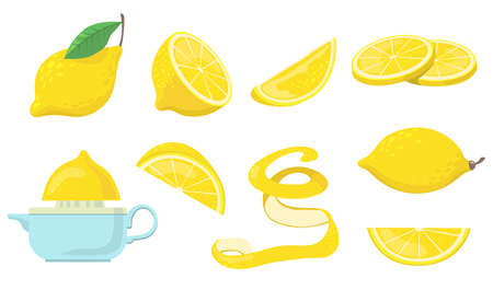 Different lemon pieces flat item set. Cartoon drawn citrus, half lemons and zest for lemonade juice isolated on white background vector illustration collection. Food and fruit concept