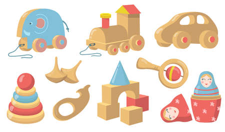 Vintage wooden toys flat item set. Cartoon old style car, cubes, rattle and devices made of wood isolated vector illustration collection. Childhood and retro toys concept