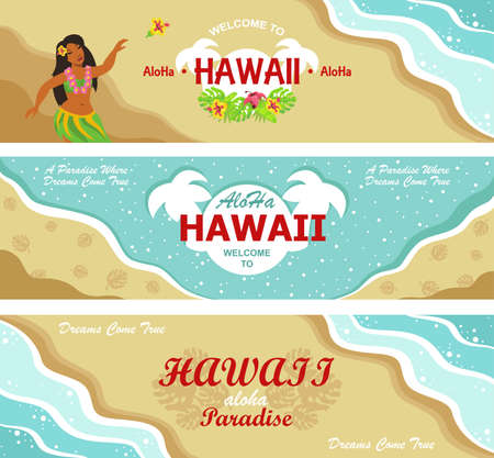Hawaii welcome flyers design set. Tropical beach, sea and sand, dancing Hawaiian girl vector illustrations with text. Template for travel brochures, resort posters and banners