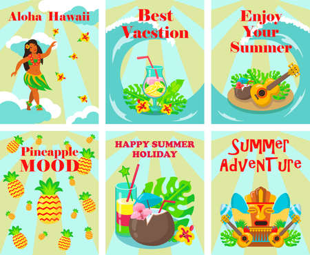 Tropical vacation welcome flyers design set. Hawaiian dancer, cocktails, fruits, ukulele, tribal mask vector illustrations with text. Template for travel brochures, resort posters and banners