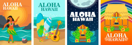 Aloha Hawaii banner design set. Tropical beach, dancer, surfboard and ukulele vector illustration. Colorful graphic elements with text. Template for travel posters, brochures, touristic flyers