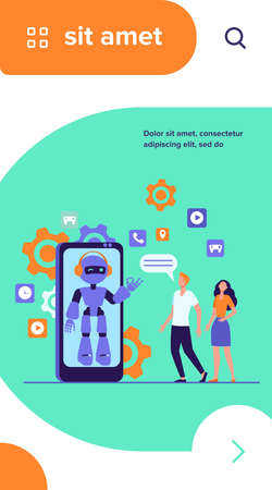 Young couple chatting with robotic assistant on smartphone screen. Chatbot helping customers with their problems. Vector illustration for customer support, help, automatic assistance concept