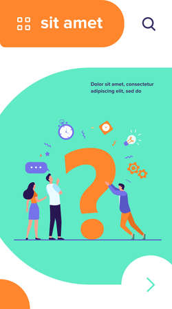 People searching solutions and asking for help. Men and women discussing huge question mark. Vector illustration for communication, assistance, consulting concept Ilustrace