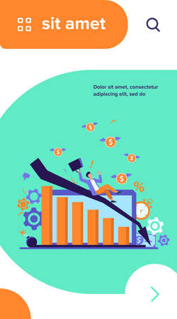 Person having going through financial troubles, money loss and crisis. Business man falling down with recession chart. Vector illustration for bankruptcy, economy failure concepts