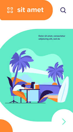 Tired office employee sleeping at workplace and dreaming of ocean beach with surfboard. Vector illustration for burnout, vacation, travel, holiday concept