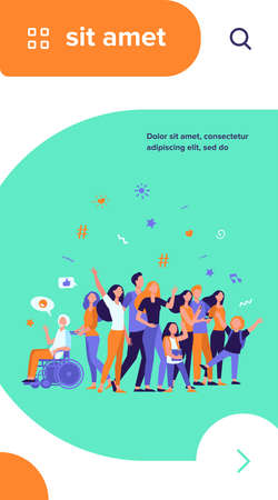 Multicultural people standing together isolated flat vector illustration. Cartoon diverse characters of multinational community members. Society and public concept Ilustração