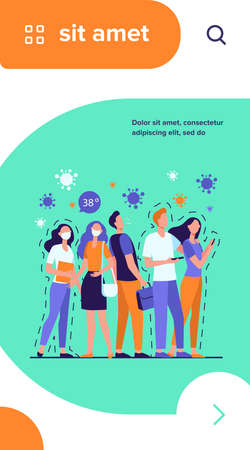 Infection spreading in crowd. People with and without masks standing together, coughing, suffering from fever. Vector illustration for coronavirus, quarantine, danger, alert, outbreak concept Illusztráció