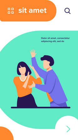 Angry man attacking woman and shouting at her. Intimidation, force, anger flat vector illustration. Harassment and aggressive behavior concept for banner, website design or landing web page Illustration