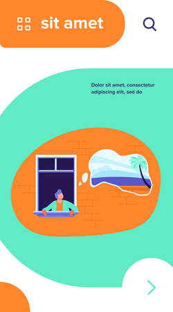Man staying at home and dreaming about tropical vacation. Palms and beach in thought bubble flat vector illustration. Lockdown, travel ban concept for banner, website design or landing web page