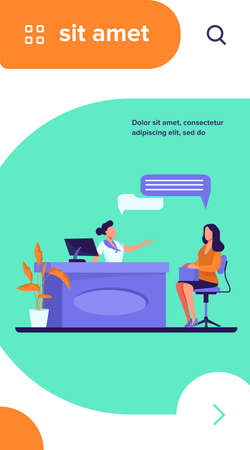 Customer and manager talking at reception desk. Clinic, consultation, reservation flat vector illustration. Communication, service concept for banner, website design or landing web page Vettoriali