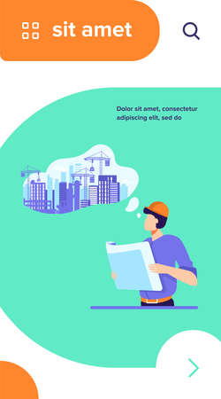 Architect with blueprint planning construction on lawn. Landscape, building work in though bubble flat vector illustration. Real estate, job concept for banner, website design or landing web page