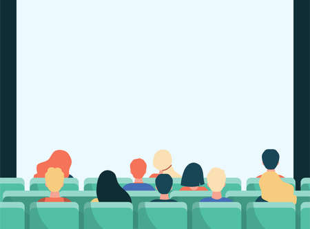 Back view of people in movie theater flat illustration. Cartoon crowd sitting in rows and waiting in cinema. Entertainment and performance concept
