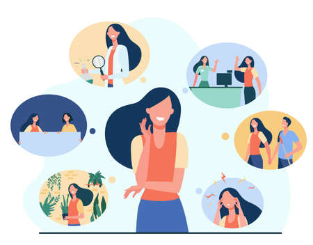Positive girl and her life memories isolated flat illustration. Cartoon woman thinking about important past scenes. Psychology, youth and personality concept
