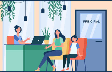 Unhappy mom talking with angry principal director about son isolated flat illustration. Cartoon parent sitting in principal room. Education, school and family control concept