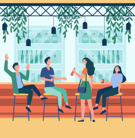 Cheerful men and women sitting in pub flat illustration. Cartoon people drinking beer, talking and relaxing in bar. Alcohol drinks and friendship concept