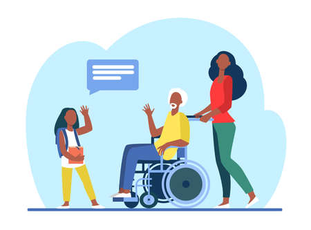 Senior man in wheelchair meeting with granddaughter. Girl visiting grandpa flat illustration. Family, generation concept for banner, website design or landing web page