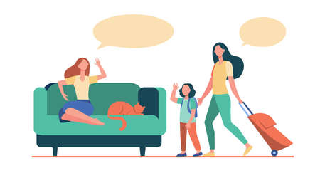 Mom and little daughter with luggage going to vacation. Woman with cat staying at home flat illustration. Travel, communication concept for banner, website design or landing web page Vektorové ilustrace