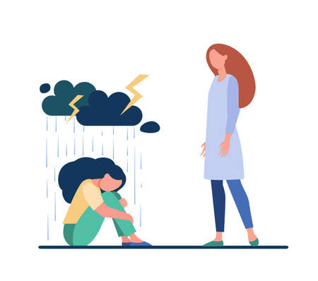Young woman giving support to female friend. Depressed person, consoling, giving comfort flat illustration. Depression, help, friendship concept for banner, website design or landing web page