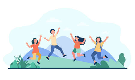 Group of cheerful kids playing outdoors. Children jumping and having fun outside, nature and mountain landscape in background. Vector illustration for childhood, party, summer vacation concept Vettoriali