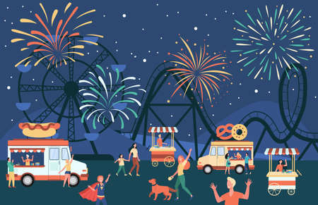 Crowd of people walking in night market, buying street food in stalls. Fireworks and amusement park in background. Flat vector illustration for food fair, city festive event, eating outside concept