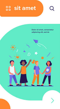 Diverse group of children in kindergarten. Team of African American, Asian, Caucasian boys and girls standing together. Vector illustration for international school, classmates, friendship concept