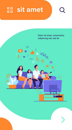Cartoon happy family watching television together isolated flat vector illustration. Mother, father and kids relaxing on couch at home. Technology, lifestyle and entertainment concept Vector Illustration