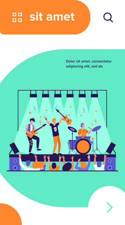 Famous rock band playing music and singing at stage flat vector illustration. Cartoon crowd of people standing near scene and waving hands. Concert and performance concept