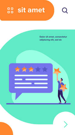Online customer feedback. Man applying rate stars to chat bubble flat vector illustration. Marketing, satisfaction, evaluation concept for banner, website design or landing web page
