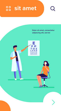 Woman examining eyes with help of ophthalmologist. Oculist, letter, hospital flat vector illustration. Medicine and healthcare concept for banner, website design or landing web page