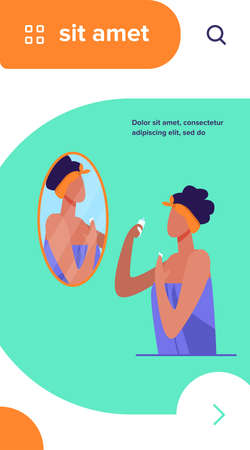 Woman standing in bathroom and using cream. Mirror, towel, face flat vector illustration. Hygiene and beauty concept for banner, website design or landing web page