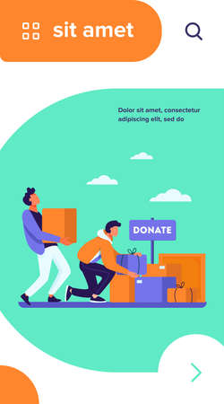 Volunteers donating stuff in boxes for poor people. Service, homeless, kindness flat vector illustration. Charity and care concept for banner, website design or landing web page Illusztráció