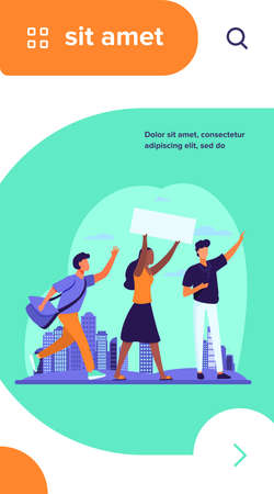 Young people with banner at social meeting. Opinion, crowd, cityscape flat vector illustration. Politics and democracy concept for banner, website design or landing web page