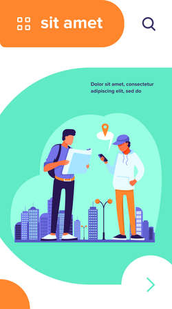 People using paper map and location app on mobile phone. Tourists finding way in city flat vector illustration. Navigation, travel concept for banner, website design or landing web page Vectores